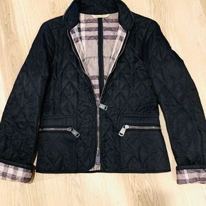 Burberry Quilted Black Jacket with Mandarin Collar